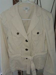 ANN TAYLOR LOFT cream courderoy front tie blazer